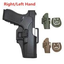 Funda de arma táctica para caza Glock 17, 19, 22, 23, 31 y 32, funda de pistola de tiro Airsoft, cinturón de bloqueo rápido para mano derecha e izquierda, funda de pistola