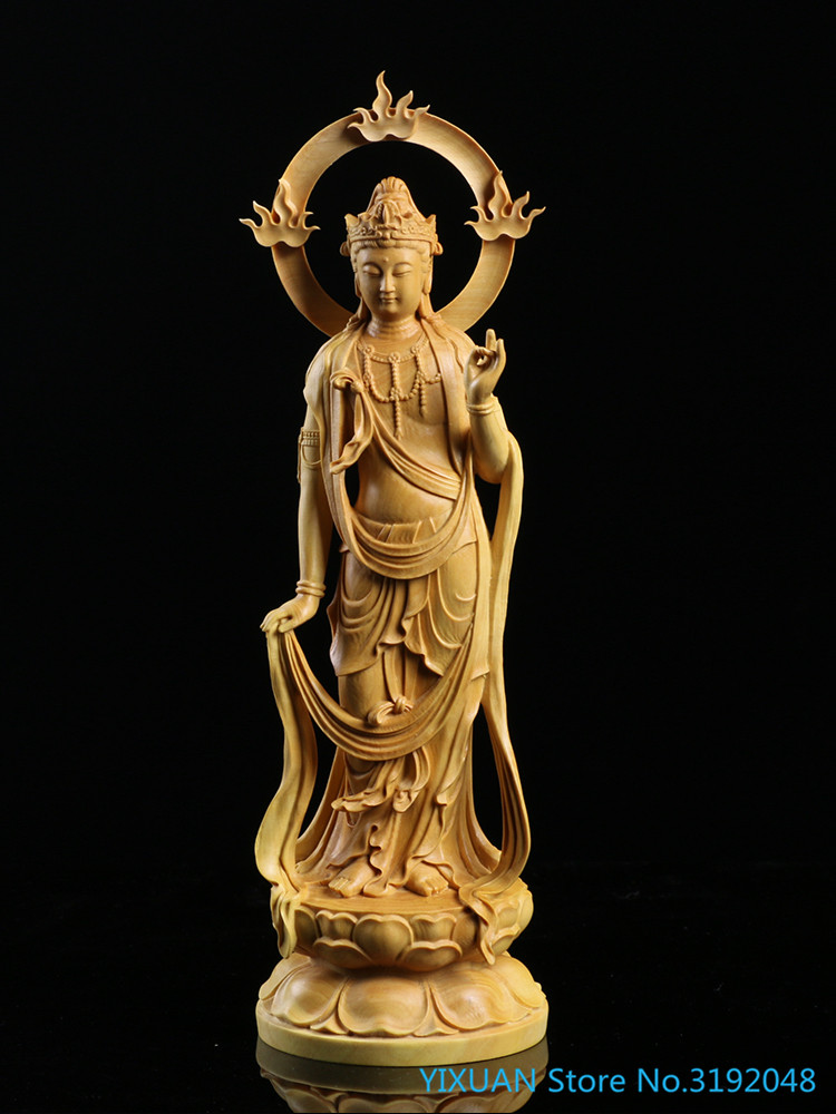 Boxwood Carvings, Ornaments, Home Furnishings, Carvings, Handicrafts, Solid Wood Statues, Buddha Gifts, Bodhisattva