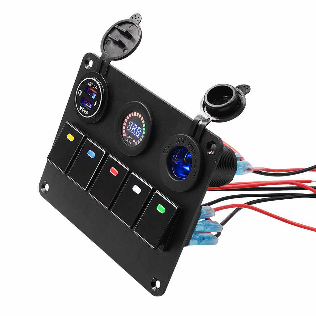 YATERKU 5-Цвет переключатель Панель автомобильный переключатель Установка Быстрая зарядка Цвет вольтметр с экраном держатель лампы Питание # b731g50