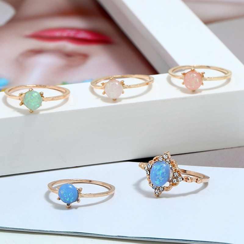 ผู้หญิงแหวนสีชมพูเลียนแบบโอปอล Shining คริสตัลลูกอมสีหวานชุดแหวนแฟชั่นเครื่องประดับของขวัญ
