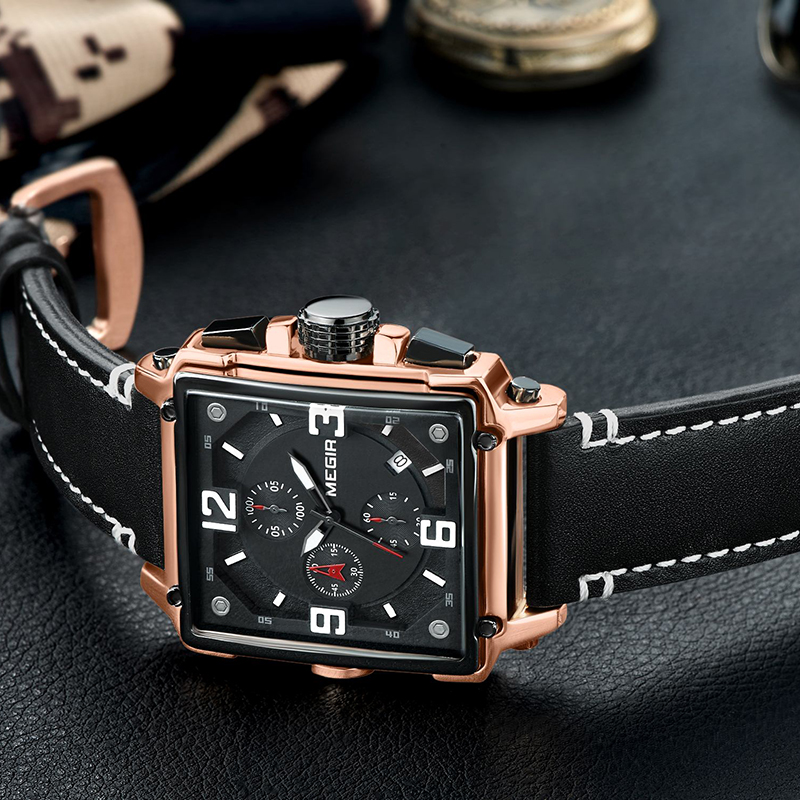 MEGIR Chronograph Sport Men 39 s Watch Top Brand Luxury Leather Luminous Quartz Watch Men Army Military Clock Relogio Masculino in Quartz Watches from Watches