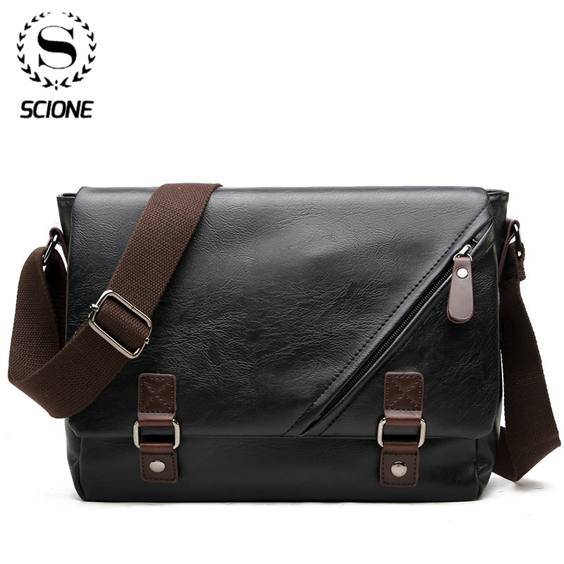 Scione Man Leather Shoulder Bags Travel Bag Men Briefcase Laptop Business Crossbody Men Bag Brand Luxury Messenger Bag Male