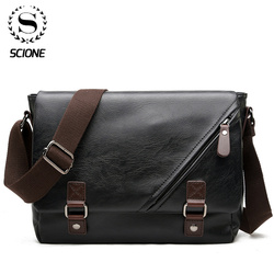 Scione Man Leather Shoulder Bags Travel Bag Men Briefcase Laptop Business Crossbody Men Bag Brand Luxury Messenger Bag Male