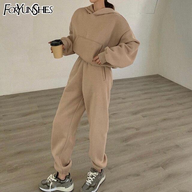 Two Piece Set Womens Outfits Y2k Oversized Tracksuit Suit Short Hoodies Tops Casual Sweatshirts Jogging Pant Suits Sweatpants 3