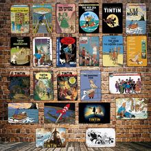 [ DecorMan ] TINTIN Adventures Cartoon TIN SIGN Custom wholesale Mural Paintings Bar PUB Decor LT-1828