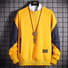 Hoodies Sweatshirts Black Patchwork Autumn Fashion Men Casual O-Neck Spring