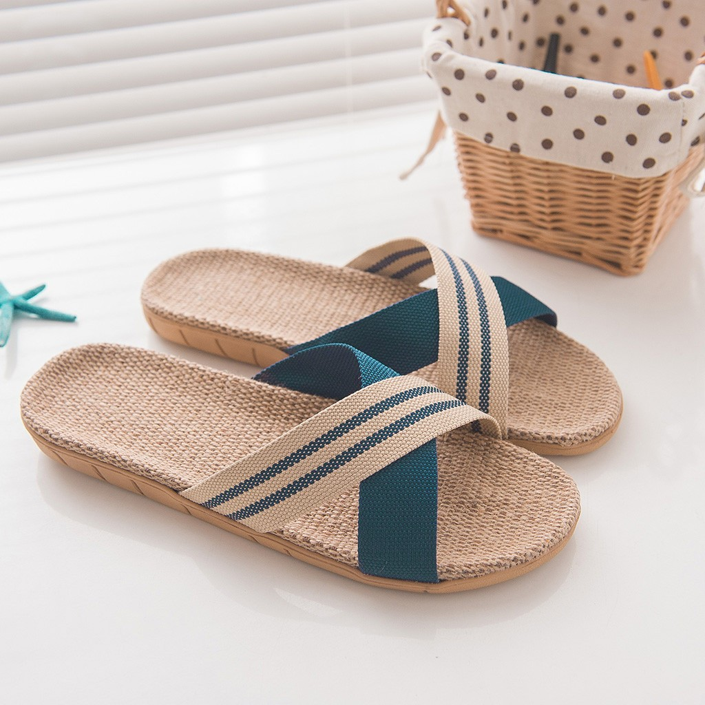 Sleeper #W401 2019 Men's Anti-slip Linen Home Indoor Open Toe Flat Shoes Beach Slippers домашние тапочки Free Shipping