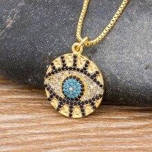 Klassische Micro Pflastern Kupfer Zirkon Evil Eye Halskette Gold Farbe Link Kette Runde Anhänger Halskette Glück Schmuck Geschenk für Weibliche