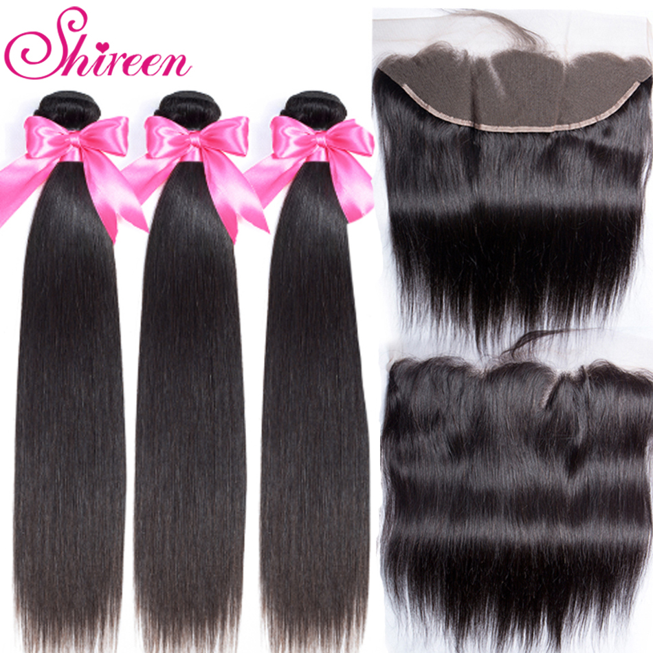 3 Bundles With Frontal Malaysian Straight Hair Weave Remy Human Hair Bundle And 13x 4 Lace Frontal Closure With Bundles Shireen