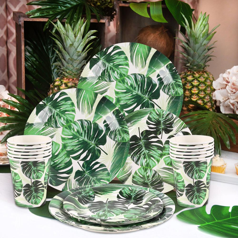 Huiran Tropical Wind Turtle Leaf Tableware Set Hawaii Party Decor Summer Aloha Birthday Party Supplies Jungle Safari Party Decor