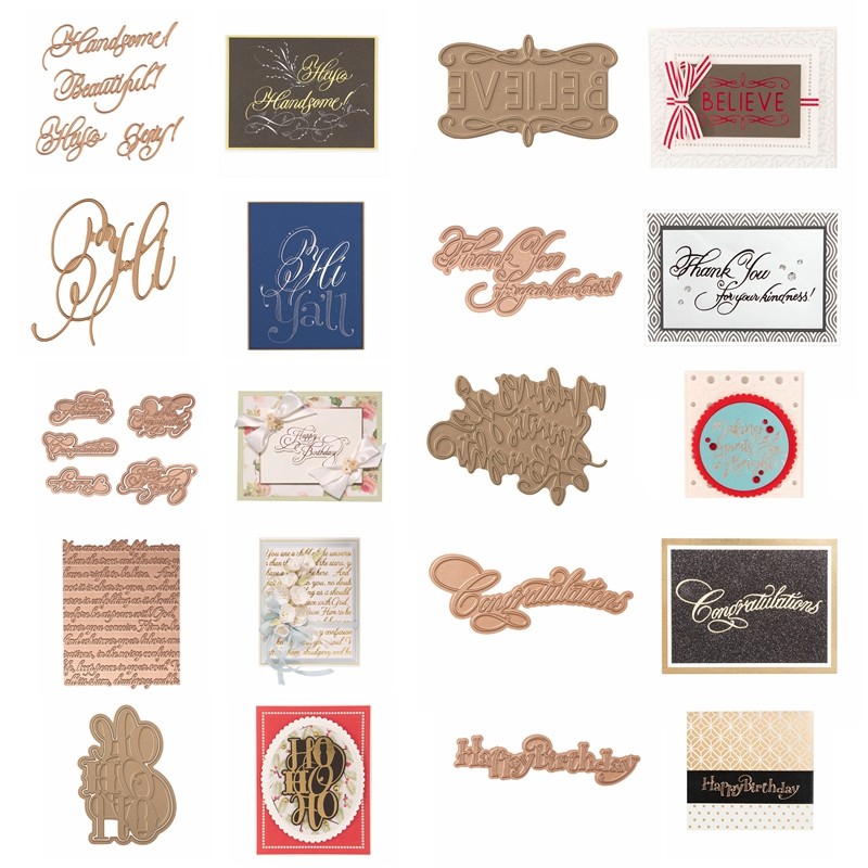 Hot Foil Plate Greetings Blessings Phrases unique Words Pattern for DIY Scrapbooking New 2019 Embossing Paper Cards Crafts in Cutting Dies from Home Garden