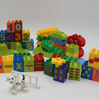 50pcs Large particles Numbers Train Building Blocks Toy for Children Educational toys Compatible With 50pcs large particles numbers train building blocks bricks educational babycity toys compatible with duplo diy