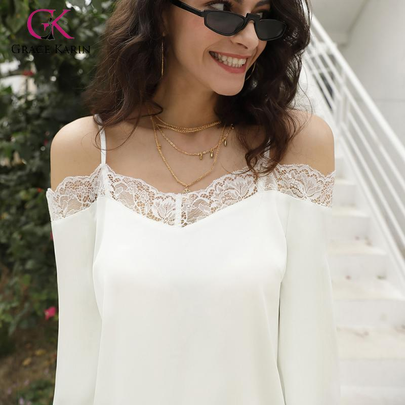 Grace Karin White Off Shoulder Lace Trim Sheer Blouse Women Spring Butterfly Sleeve Street Wear Casual Women Clothes 2020