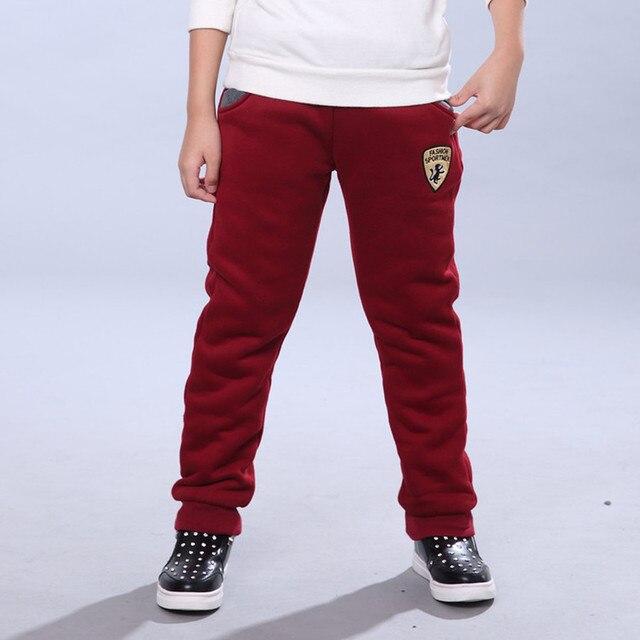 Winter Pants for Boy Kids Warm Thick Fleece Fur Lining Leggings Sport Trousers 4Y-14Y Teen Boys Straight Full Leggings Joggers 4