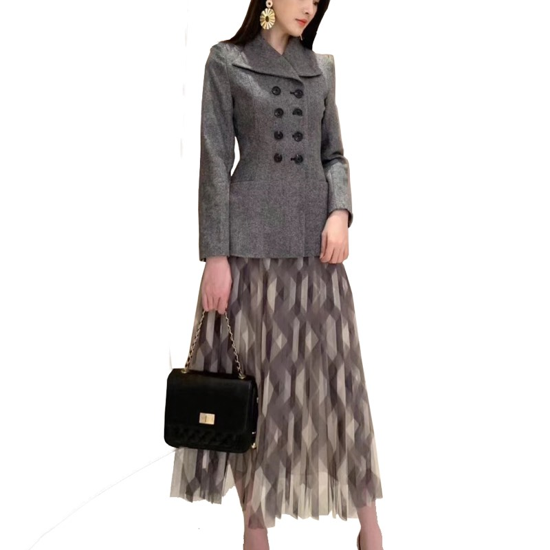 2019 Women Winner/Autumn Blazer Skirt 2 Piece Set Long Sleeve Wool  Jacket Office LadyPlaid Mesh Skirt Pleated Midi Skirts Suit