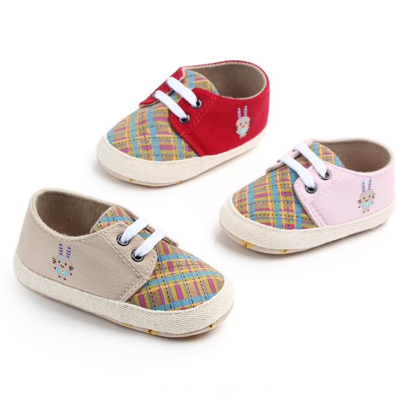 Baby Girl Breathable Plaid Print Anti-Slip Shoes Casual Sneakers Toddler Soft Soled First Walkers