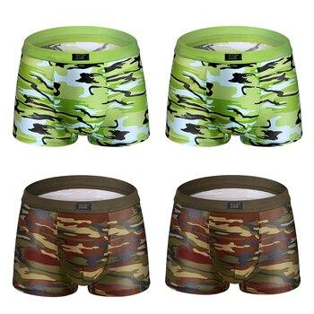Camouflage printed Boxer Shorts male panties Breathable Comfortable Letter Underwear For Men Cheap Boxer Shorts 4pcs/lot 12