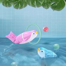 Игрушка для купания в виде рок-игрушки для детей, электрические Пингвины для плавания, животное с пьедесталом для ванной, детский подарок