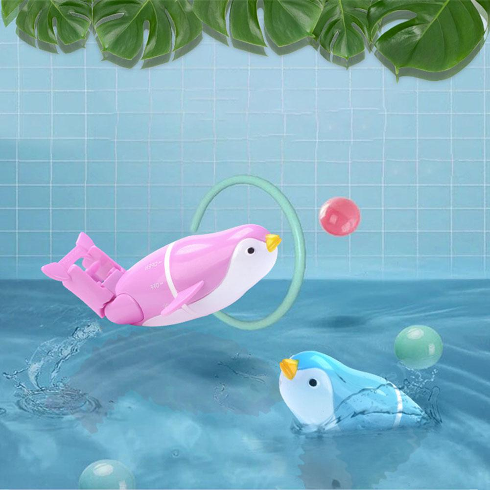 Finger Rock Baby Bath Toy Electric Penguins Swimming Animal With Pedestal For Baby Bathroom Shower Children Gift