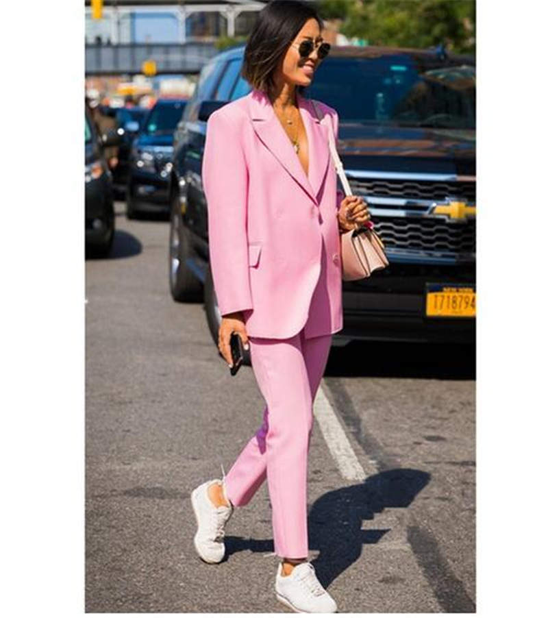 Elegant Pink Lady Women's Suit Set 2020 Spring And Autumn Slim Professional 2 Piece Set Suit Women's Pantsuit Customi Made