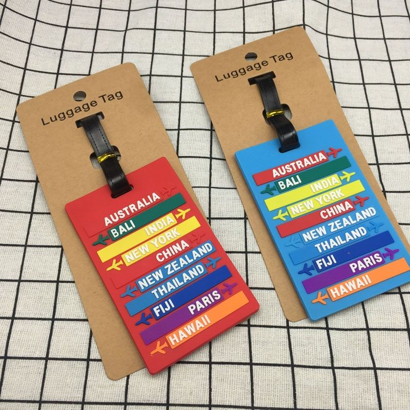 Fashion Worldwide City Name PVC Luggage Tag Letters Address Holder Baggage Label Silicone Identifier Travel Accessories