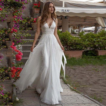 Sevintage Beach V-Neck Boho Bridal Gowns Chiffon Floor Length Wedding Dress Custom Made Formal Party Bride 2020