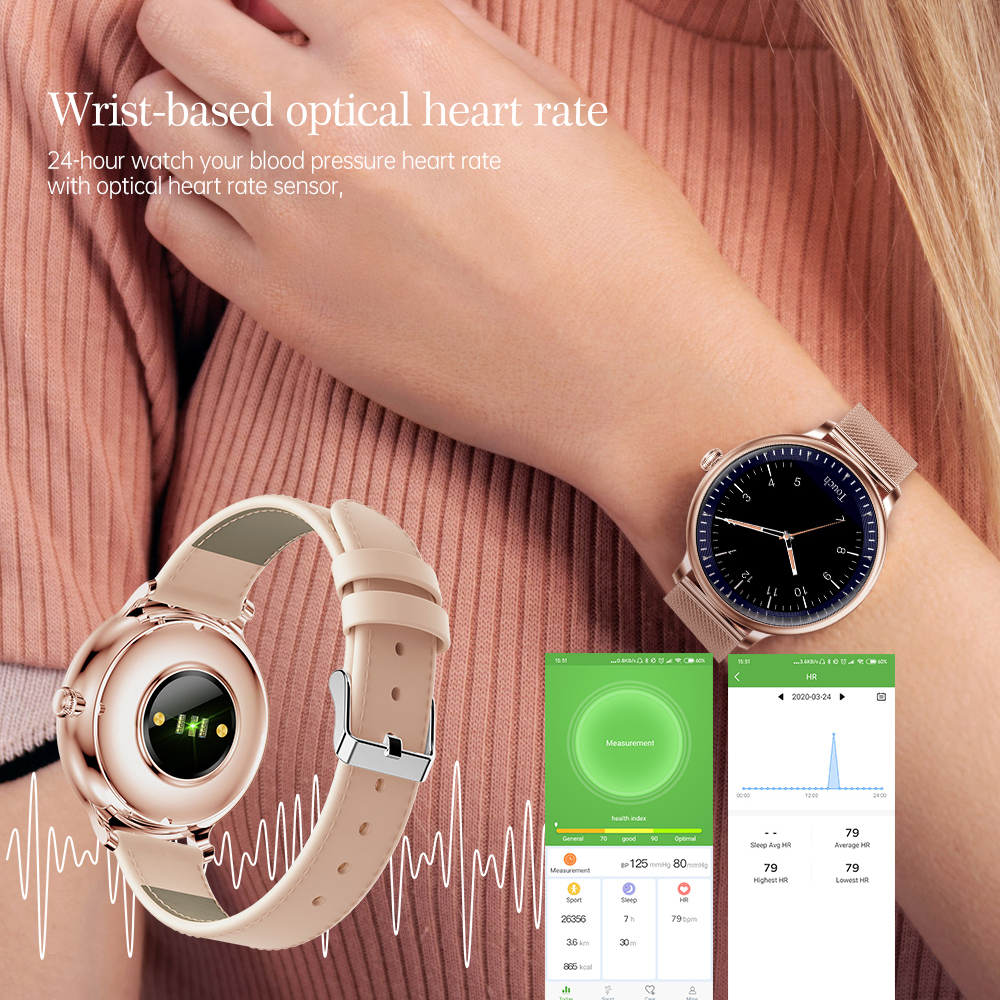 RUNDOING NY12 Stylish women smart watch Round Screen smartwatch for Girl Heart rate monitor compatible For Android and IOS