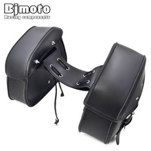Bjmoto Universal Motorcycle Black luggage Saddle Bag for Harley Honda Suzuki Rider Motorbike Luggage Bags 2 pcs