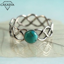 Women's Twist Turquoise Ring 925 Silver Retro Ring Party Birthday Gift Jewelry