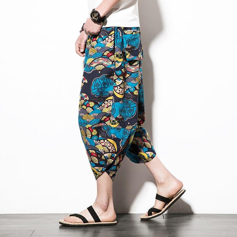 Aoliwen brand 2020 men's harem pants printed retro jogging pants cotton cropped pants men's loose street style men casual pants
