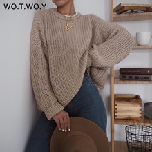 WOTWOY – Pull à manches longues pour femme, élégant, oversize, ample, tricoté, en cachemire, nouvelle collection automne
