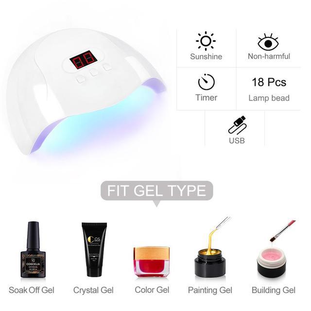 Kit de manucure complet et Kit de vernis à ongles Gel pour Extension dongle 18LED S séchoir à lampe à LED UV perceuse électrique Kit doutils dart dongle