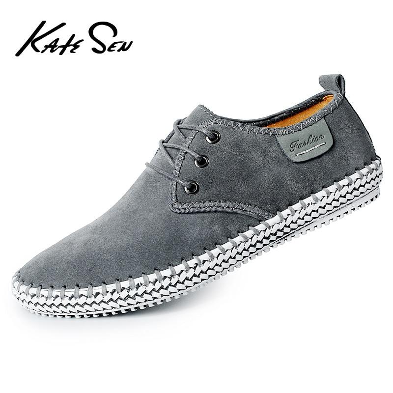 KATESEN suede casual men's shoes high quality handmade zapatos de hombre fashion weaving fisherman shoes large size boat shoes