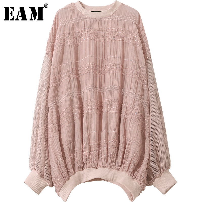 [EAM] Women Hollow Out Thin Loose Big Size Mesh Spliced T-shirt New Round Neck Long Sleeve Fashion Tide Spring Autumn 2019 1A168