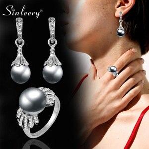 SINLEERY elegante imitación perla gris juegos de joyas para mujer pendientes de Color plata y anillo de boda accesorios Tz126 SSF