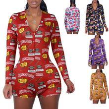 Осенние короткие штаны, комбинезон, сексуальный Облегающий комбинезон с длинным рукавом и принтом для женщин DZ002