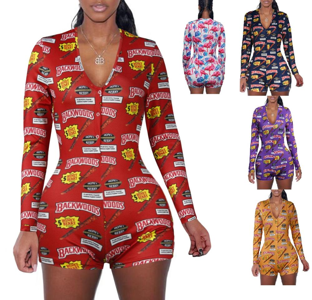 2020 spring short pants Rompers Sexy Bodycon long sleeve print jumpsuit for women DZ002 title=
