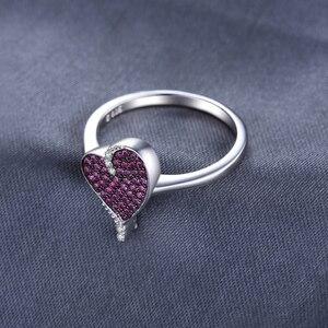 Image 3 - JewelryPalace kalp 0.3ct oluşturulan yakut taşlı yüzük 925 ayar gümüş kalp aşk nişan yüzüğü yeni varış özel kadınlar için