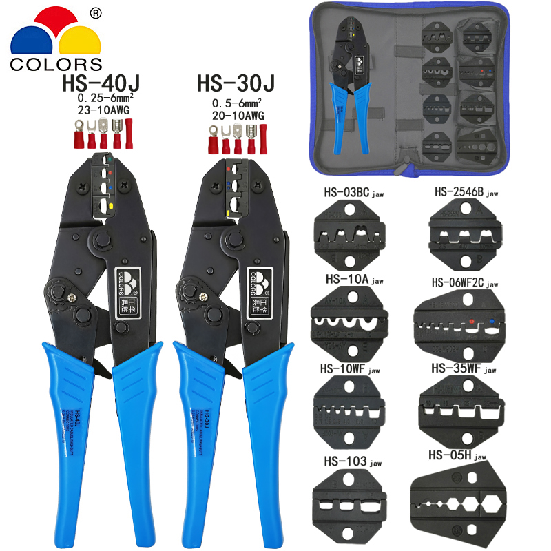 <font><b>HS</b></font>-<font><b>30J</b></font> <font><b>HS</b></font>-40J Crimping Pliers Clamp Tools Cap/coaxial Cable Terminals Kit Multi Functional Brand Carbon Steel Multifunctional image