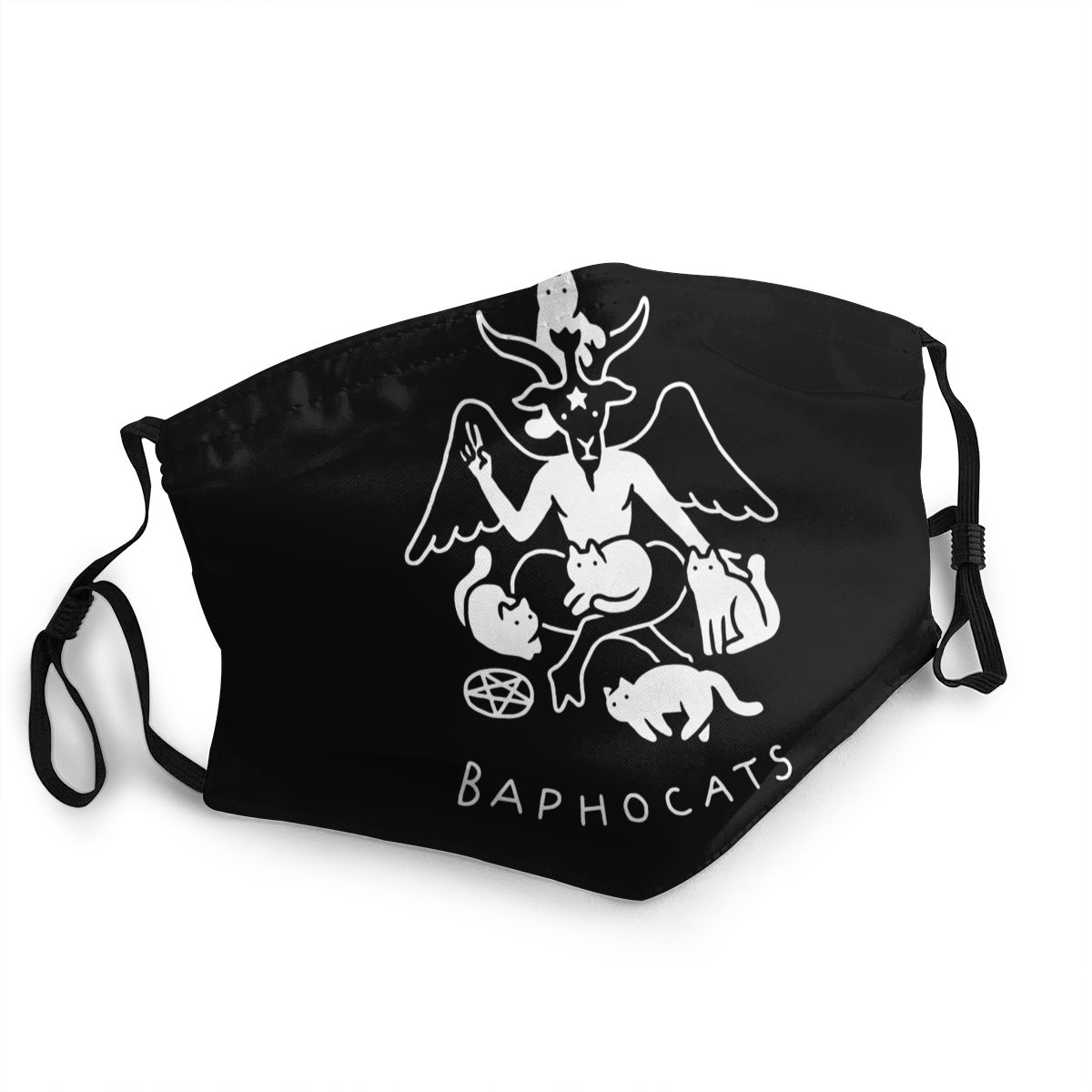 Baphocats Non-Disposable Face Mask Baphomet Satan Pentagram Occult Anti Dust Mask Protection Mask Respirator Mouth Muffle