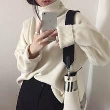 Женский пушистый вязаный свитер водолазка свободный облегающий