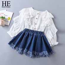 HE Hello Enjoy Girls Clothing Sets 2019 New Spring Fashion Tiered Ruched Solid Shirt+Blue Denim Skirt Suits Child Kids Clothes