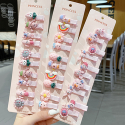 [Xwen] 10 PCS/set 2021 New Cute Children Hairpin Baby Ear Side Bangs Clip Fruit Headdress Female Hair Accessories OH2076