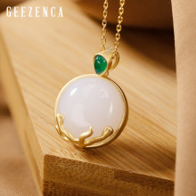 925 Sterling Silver Gold Plated White Jade Pendant Necklace 2019 New Sweater Chain Original Design Gemstone Pendants Necklaces