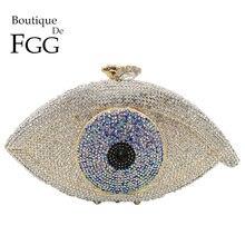 Butik De FGG Vintage Evil Gözler Kadın Kristal Akşam Çanta sert çanta Düğün Debriyaj Minaudiere Gelin Çanta ve Çantalar