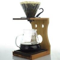 V60 de bambu suporte de cerveja barista café dripper suporte rack|Conjuntos de café| |  -