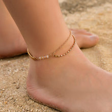 Double layer Ankle Bracelet Anklets For Women Foot Bracelet Leg Chain Jewelry Summer Barefoot Beach Tornozeleira(China)