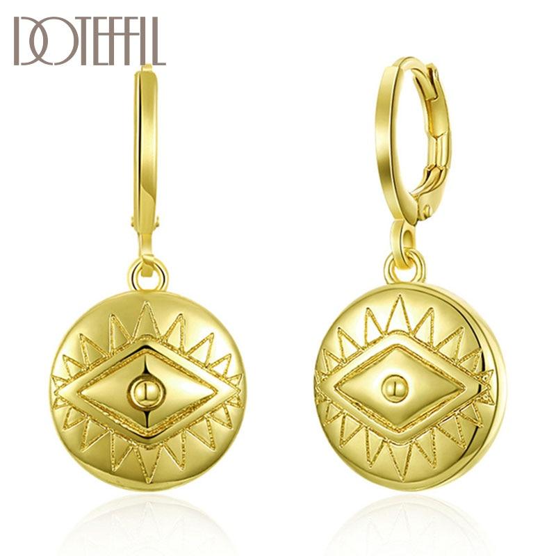 DOTEFFIL 925 ayar gümüş AAA zirkon klasik 18K altın küpe kadınlar takı için moda takı düğün parti hediye