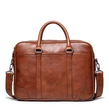 Vintage Men Business Bag Laptop Bag Soft Real Leather Briefcase Bag Male Luxury Large Capacity Office Handbag Totes Portfolio
