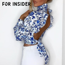 For Insider Sexy blue floral print backless blouse shirt women Turtleneck long sleeve tunic crop top Ruffle summer blouse ladies dot print ruffle crop top